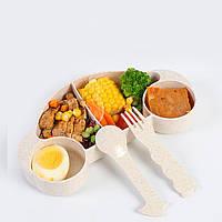 Набор бамбуковой посуды для детей 2 в 1 Машинка бежевая, детский набор экологической посуды из бамбука
