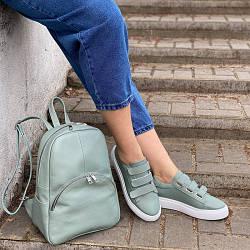 Рюкзак оливковий шкіряний жіночий. колір шкіри можна будь-який. Виробник Україна