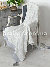 Плед шерстяной 130x170 BETIRES BALL GRAY (50% шерсть, 50% акрил) серый