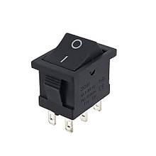 Кнопка АВаТар вузька 1-я 6 контакту маленька чорна без підсвічування 6А(при 220В)
