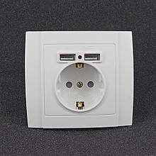 Розетка одинарная внутренняя + 2 USB Yaweitai YW-2506 Белая