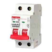 Модульний автоматичний вимикач E-NEXT e.mcb.stand.45.2.C40, 2р, 40А, С, 4,5 кА