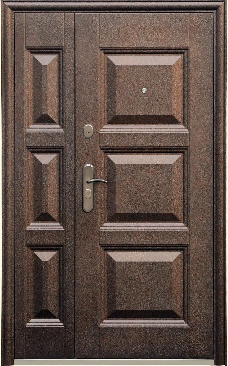 Двустворчатые (полуторные) входные двери ТР-С 143 Китай. Наружные на улицу. Утепленные минватой