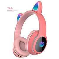 Беспроводные Bluetooth наушники с кошачьими ушками TopRoad L400 Розовые