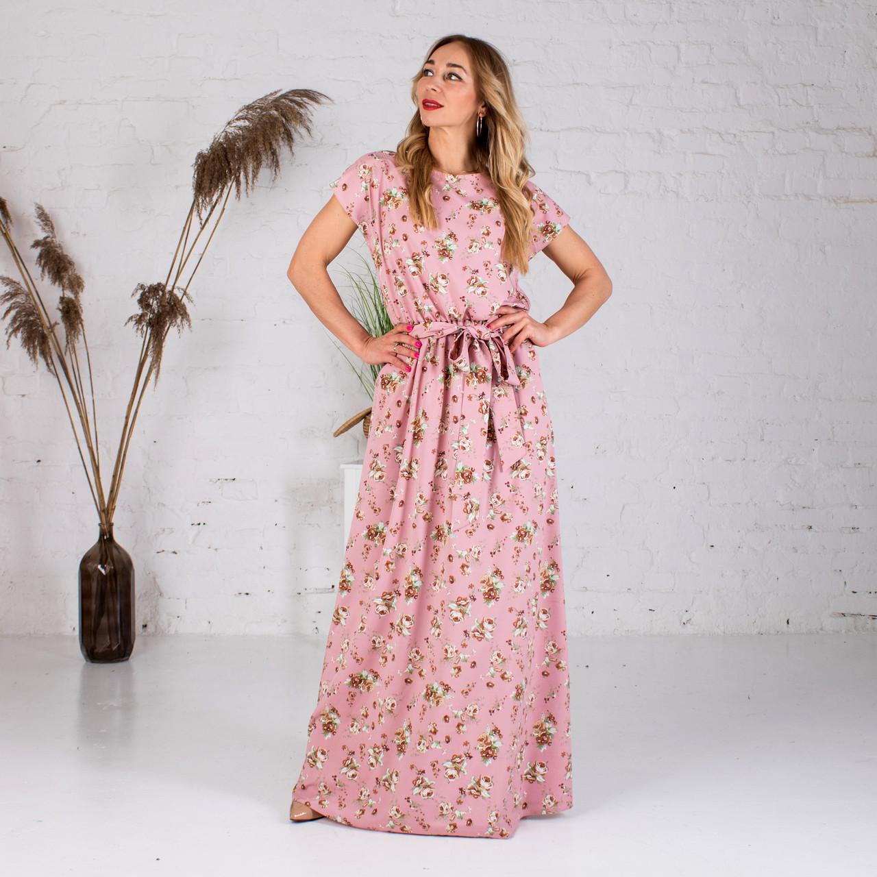 Довге плаття з квітковим принтом рожеве