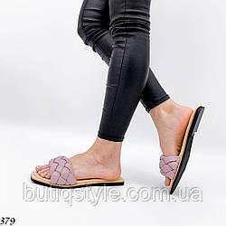 36,37 размер Женские розовые плетеные шлепки натуральная кожа