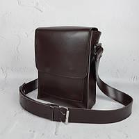 Сумка-планшет чоловіча шкіряна чорна суперматовая 1604