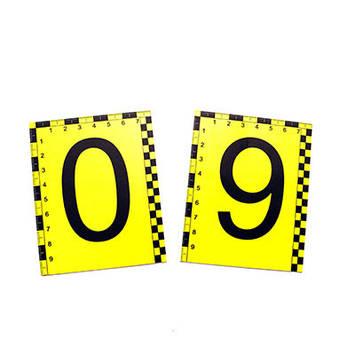 Набір двосторонніх пластикових номерків 0-9 зі шкалою, фото 2