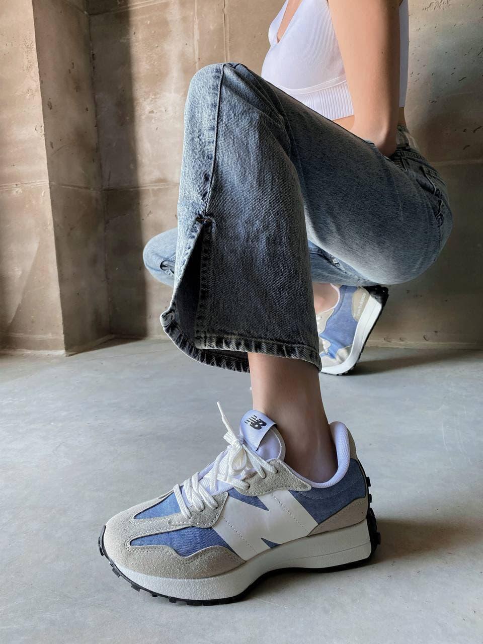 Женские кроссовки New Balance 327 Голубые Замш, Реплика
