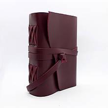 Шкіряний блокнот COMFY STRAP А5 14.8 х 21 х 4 см Чистий аркуш Бордовий (053)