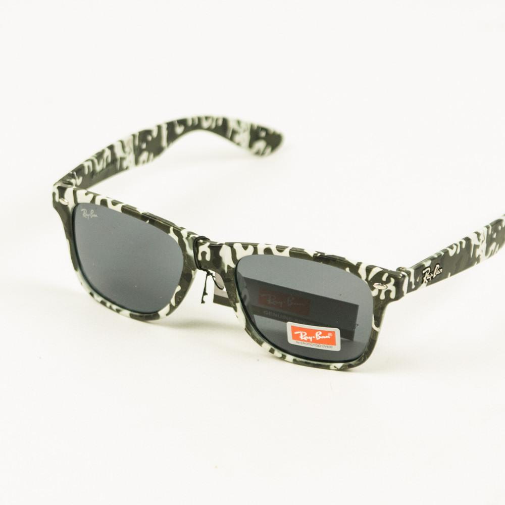 Оптом солнцезащитные очки Ray-Ban Wayfarer унисекс со стеклянной линзой и оправой хаки - 048
