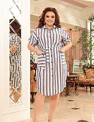 Женское темно-серое льняное платье-рубашка в полоску