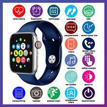 Розумні годинник Смарт годинник Smart Watch T500 з сенсорним екраном і пульсометром голосовий виклик сині +