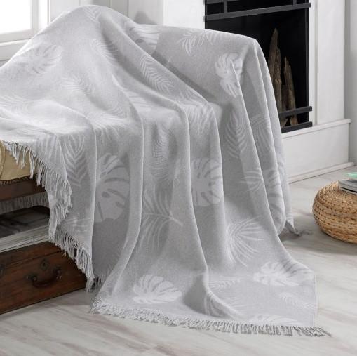 Плед-накидка Eponj Home Buldan Keten - Monstera 170*220 gri серый