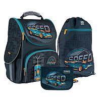 Каркасный рюкзак Kite с ортопедической спинкой Германия + пенал + сумка для обуви Speed SET_K21-501S-1