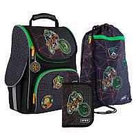 Каркасный рюкзак Kite ортопедический Германия + пенал + сумка для обуви Motocross SET_K21-501S-2