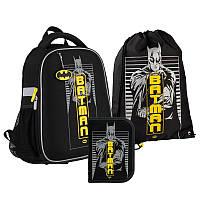 Рюкзак ортопедический каркасный Германия Kite  + пенал + сумка для обуви SET_DC21-555S Batman