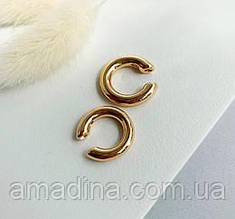 Кафф для уха золото крупный, набор кафи женские золотые 2шт, серьги клипсы на ухо кафы