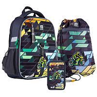 Рюкзак школьный ортопедический каркасный Kite Германия + пенал + сумка для обуви Motorbike SET_K21-555S-2