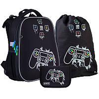 Каркасный ортопедический рюкзак Kite + пенал + сумка для обуви Gamer SET_K21-531M-2