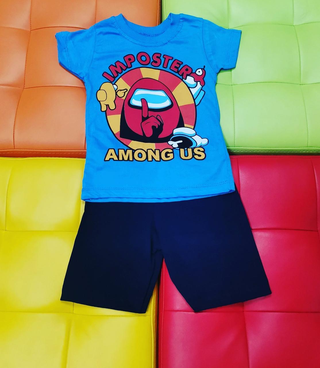 Комплект для мальчика с Among Us футболка и шорты
