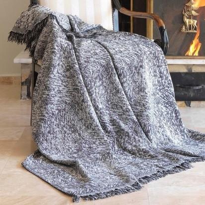Плед-накидка Eponj Home Buldan Keten - Linen 170*220 siyah чорний