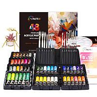 Набор 69 предметов акриловые краски 48 цветов + 17 кисточек + 3 холста + палитра Art Planet