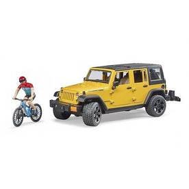 BRUDER Джип Jeep Rubicon с фигуркой велосипедиста на спортивном байке (02543)