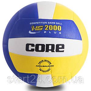 Мяч волейбольный PU CORE HYBRID CRV-030 (PU, №5, 3 слоя, сшит машинным способом)