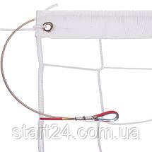 Сітка для волейболу ЄВРО SO-2074 (PP 3мм, р-н 9,5х1м, осередок 10х10см, з метал. тросом, білий, чорний-білий), фото 3