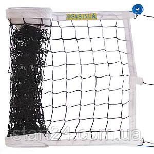 Сетка для волейбола ЕВРО НОРМА ЛАЙТ SO-2076 (PP 3мм, р-р 9,5x1м, ячейка 10x10см, с паракордом, белый,