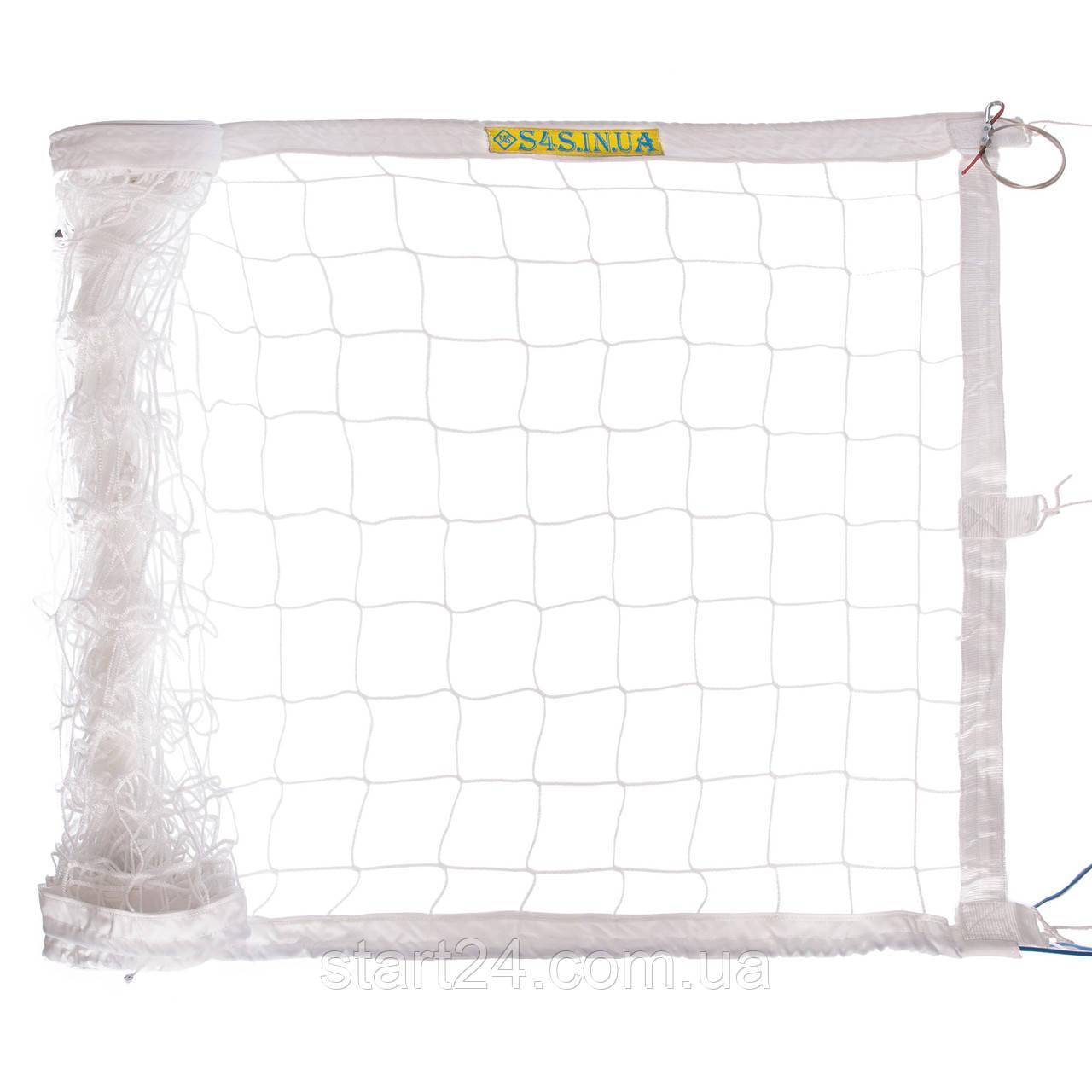 Сітка для волейболу ЄВРО НОРМА ЛАЙТ SO-2078 (PP 3мм, р-н 9,5х1м, осередок 10х10см, з метал. тросом, білий,