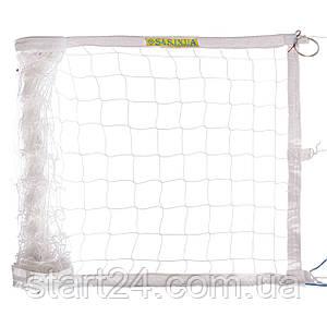 Сетка для волейбола ЕВРО НОРМА ЛАЙТ SO-2078 (PP 3мм, р-р 9,5x1м, ячейка 10x10см, с метал. тросом, белый,