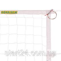 Сітка для волейболу ЄВРО НОРМА ЛАЙТ SO-2078 (PP 3мм, р-н 9,5х1м, осередок 10х10см, з метал. тросом, білий,, фото 3