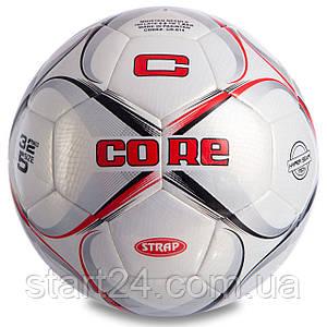 Мяч футбольный №5 PU HIBRED Сшит машинным способом CORE STRAP CR-014 (№5, 5сл., белый-бордовый-черный)