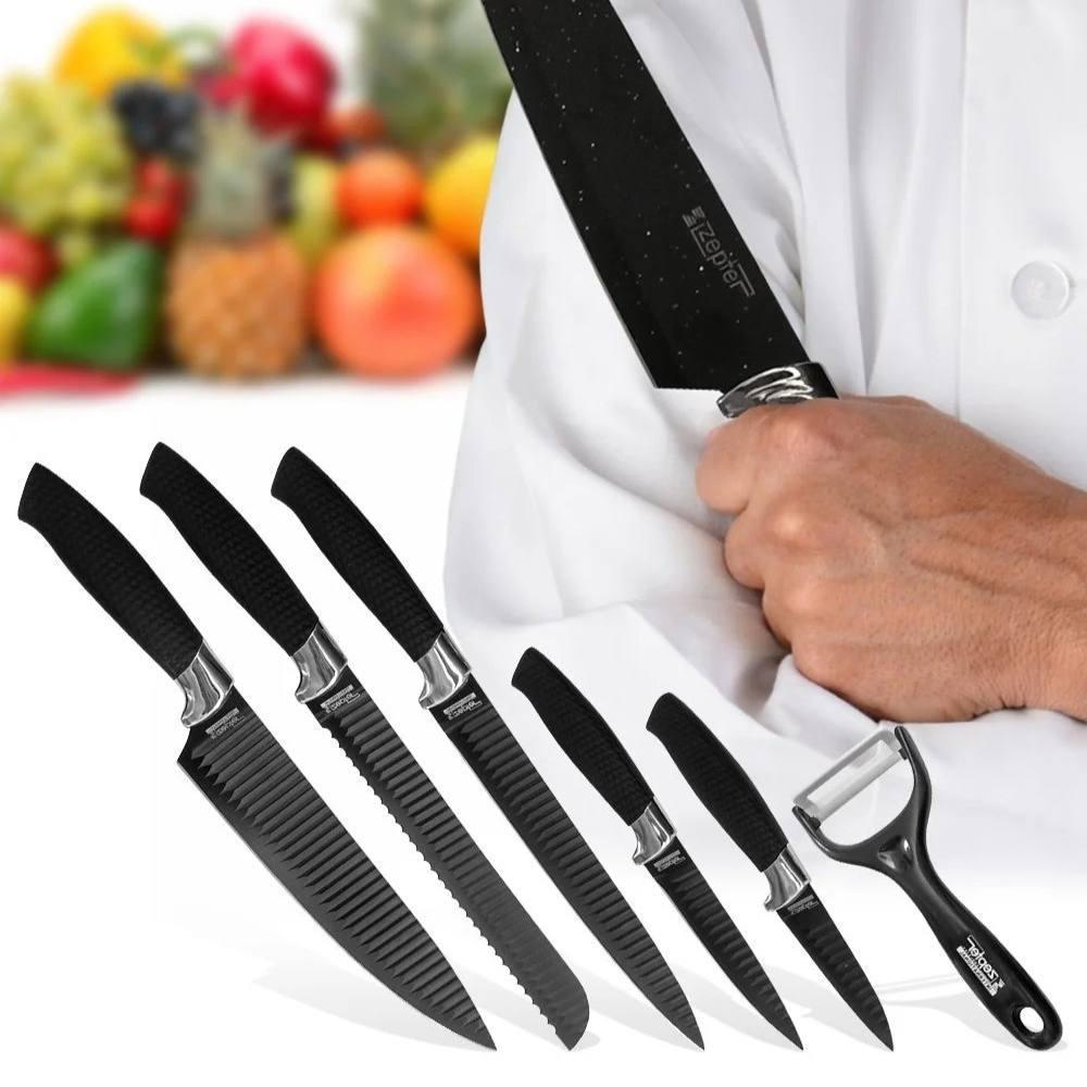 Стильний набір кухонних рифлених ножів з антибактеріальним покриттям 6 в 1 Zepter