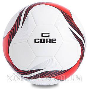 М'яч футбольний №5 PU HIBRED Зшитий машинним способом CORE SUPER CR-012 (№5, 5сл., білий-червоний)