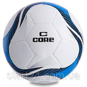 Мяч футбольный №5 PU HIBRED Сшит машинным способом CORE SUPER CR-013 (№5, 5сл., белый-синий)