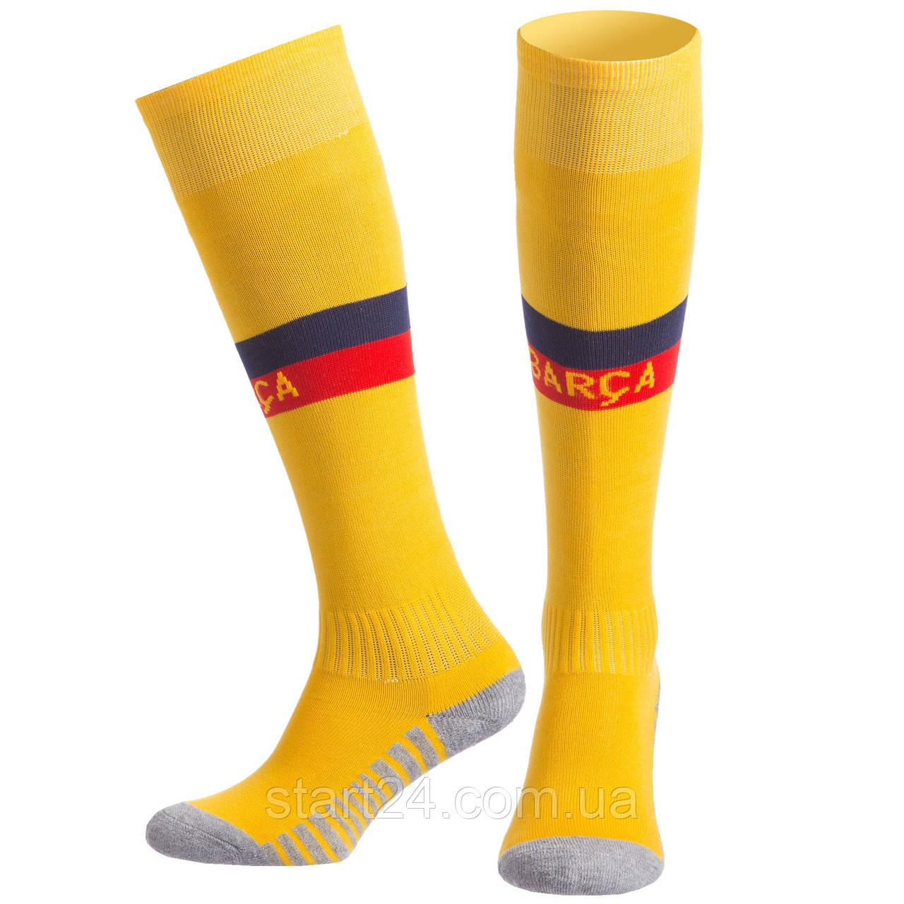 Гетры детские с символикой футбольного клуба BARCELONA AWAY 2020 ETM2001-BAR2 (размер 32-39, желтый)