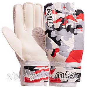 Перчатки вратарские FB-6744 MITER (PVC, р-р 8-10, цвета в ассортименте)