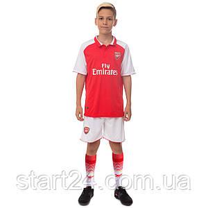 Комплект футбольної форми (футболка, шорти і гетри) SP-Sport ARSENAL CO-7127-ETM1808-R (форма р-р 20-24 6-10