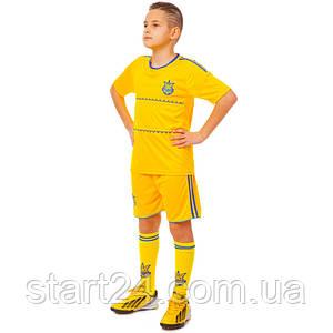 Комплект футбольної форми (футболка, шорти і гетри) SP-Sport УКРАЇНА CO-1006-UKR-13B-ETM1721 (форма р-р XS-M,