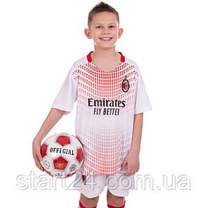 Форма футбольная детская AC MILAN гостевая 2021 SP-Planeta CO-2455 (р-р 22-30,8-14лет, 120-165см,