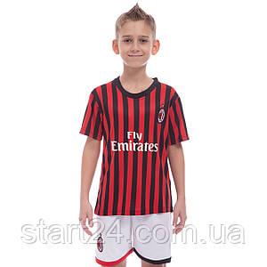 Форма футбольна дитяча AC MILAN домашня 2020 SP-Planeta CO-0977 (р-р 20-28-6-14р, 110-155см,