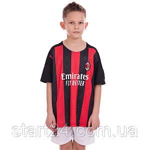 Форма футбольна дитяча AC MILAN домашня 2021 SP-Planeta CO-2454 (р-р 22-30,8-14р, 120-165см,