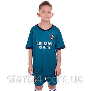 Форма футбольна дитяча AC MILAN резервна 2021 SP-Planeta CO-2456 (р-р 22-30,8-14р, 120-165см, синій)