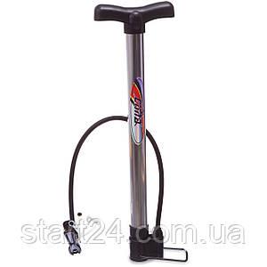 Насос підлоговий ручної для м'ячів,велосипедів CIMA CM-P301 (пластик,алюмін. профілю,l-42см)