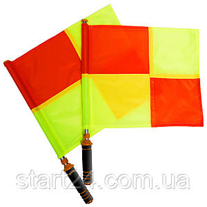 Комплект судейских флагов (футбольного арбитра) 2шт FB-0475 (полиэстер, l-53см, р-р 39х33см, PL чехол)
