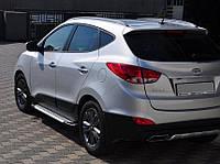 Hyundai IX-35 2010-2015 гг. Боковые пороги Allmond Grey (2 шт, алюм.)