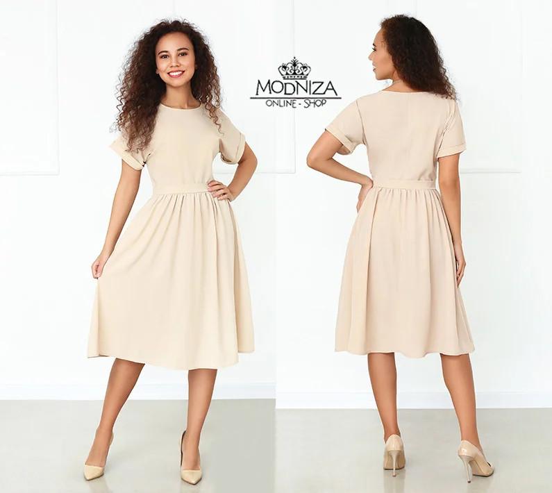 """Женское платье с короткими рукавами """"Валенсия""""  Норма и батал"""